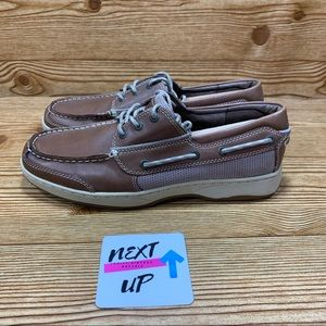 LL Bean Brown Leather Classic Boat Shoe Loafer 10